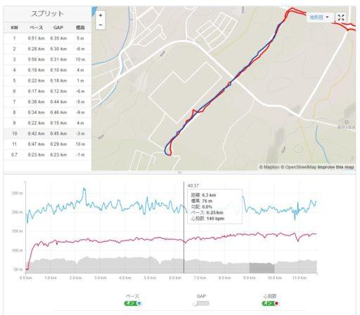 ランニングのログ。1kmごとのタイム・ペースごとに見られるのがランニング分析っぽい。