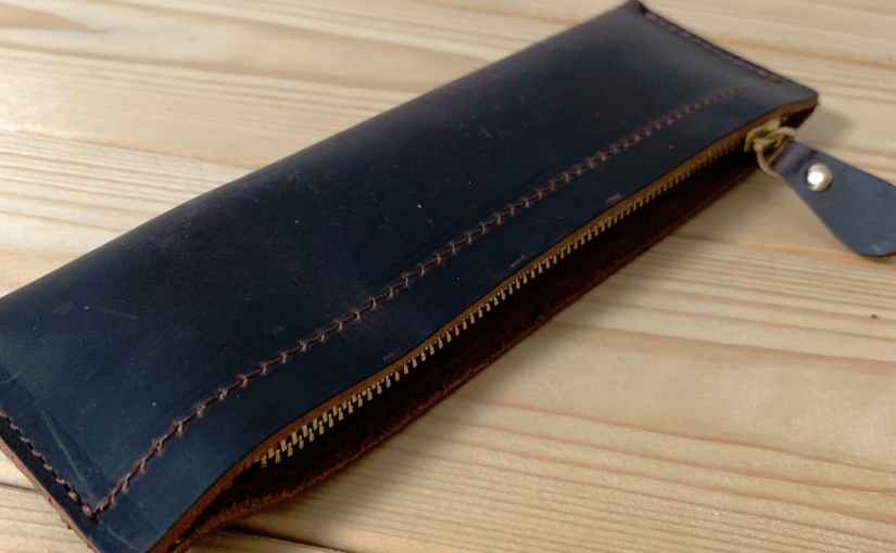 筆箱購入 Genuine Leather Zipper Pencil Pouch